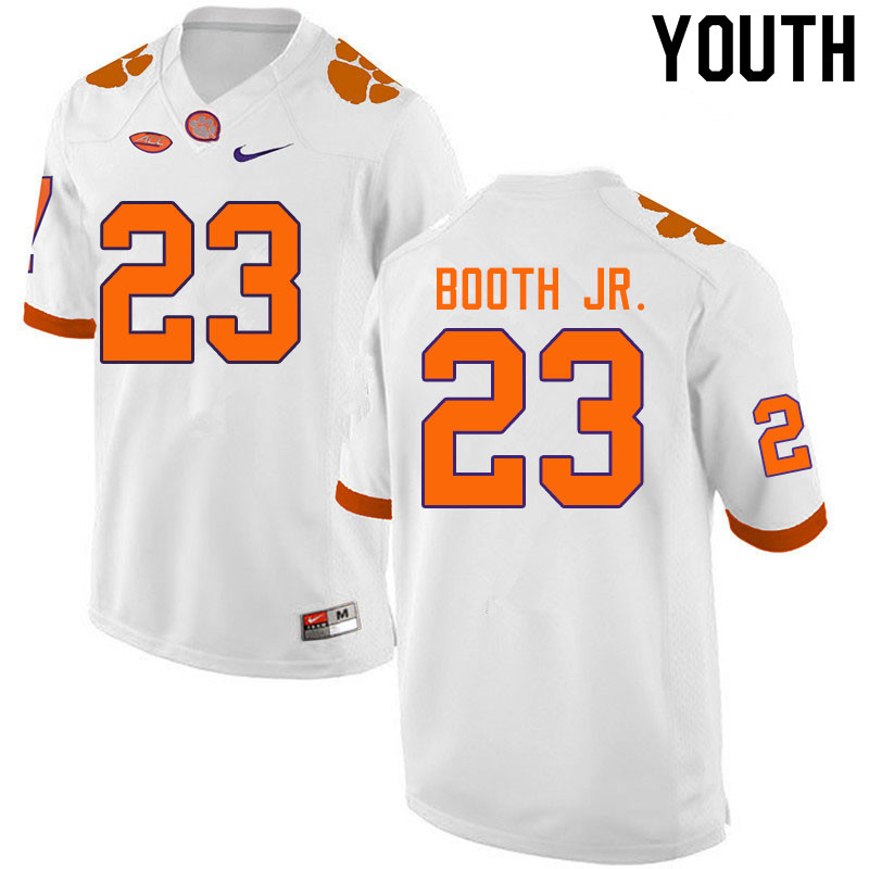 Youth #23 Andrew Booth Jr. Clemson Tigers College Football Jerseys Sale-White
