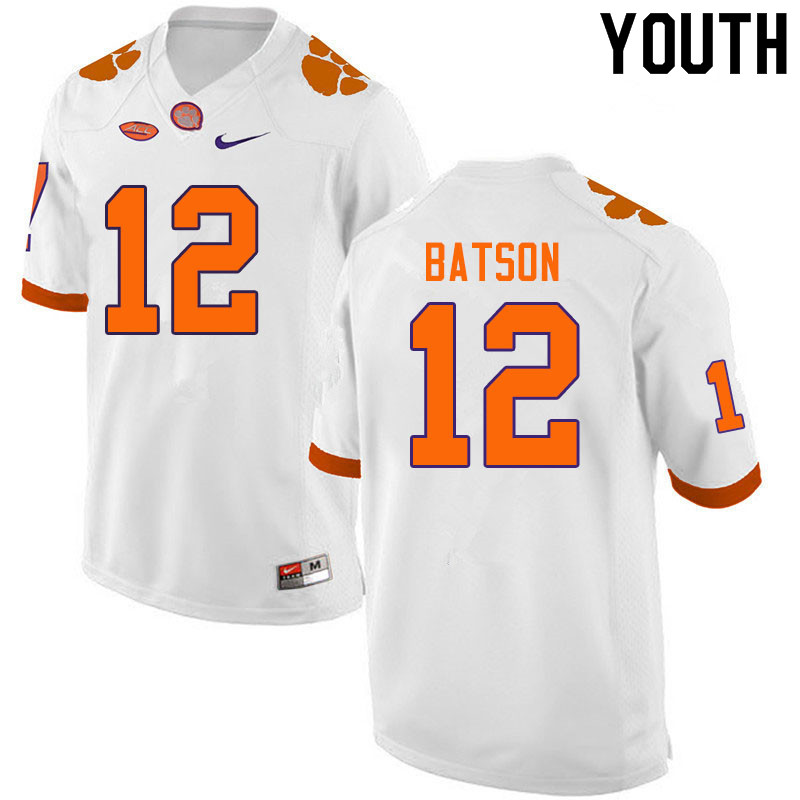 Youth #12 Ben Batson Clemson Tigers College Football Jerseys Sale-White