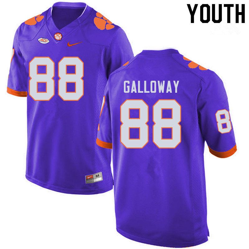 Youth #88 Braden Galloway Clemson Tigers College Football Jerseys Sale-Purple