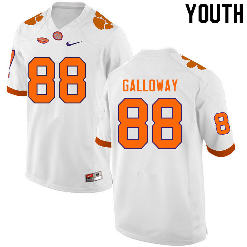Youth #88 Braden Galloway Clemson Tigers College Football Jerseys Sale-White