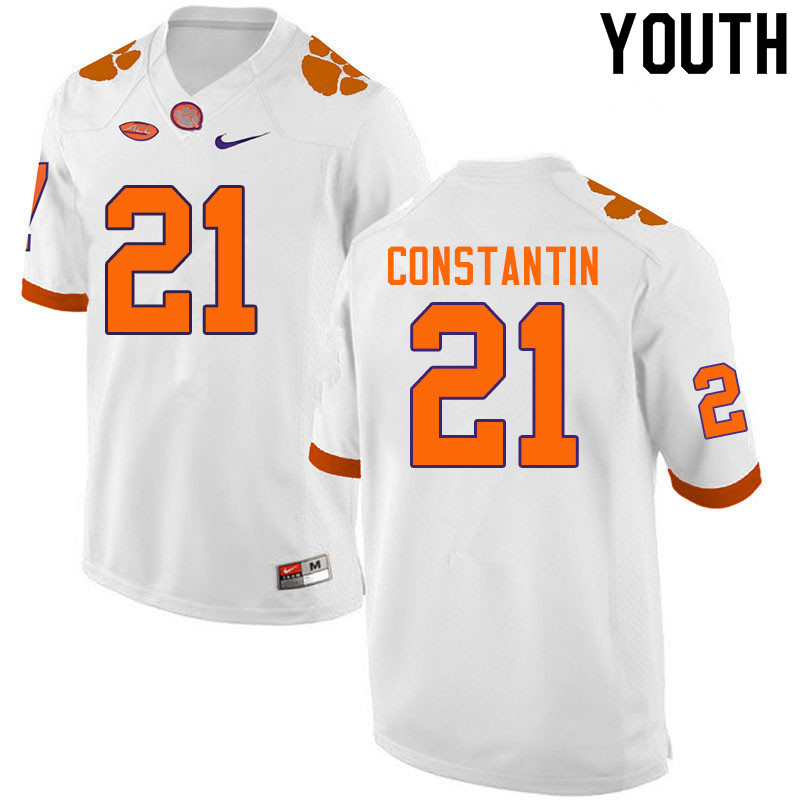 Youth #21 Bryton Constantin Clemson Tigers College Football Jerseys Sale-White
