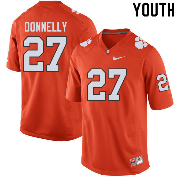 Youth #27 Carson Donnelly Clemson Tigers College Football Jerseys Sale-Orange