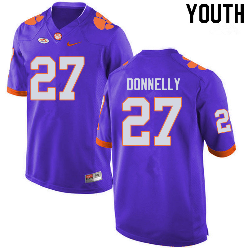 Youth #27 Carson Donnelly Clemson Tigers College Football Jerseys Sale-Purple