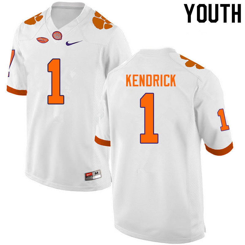 Youth #1 Derion Kendrick Clemson Tigers College Football Jerseys Sale-White