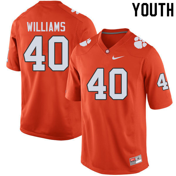 Youth #40 Greg Williams Clemson Tigers College Football Jerseys Sale-Orange