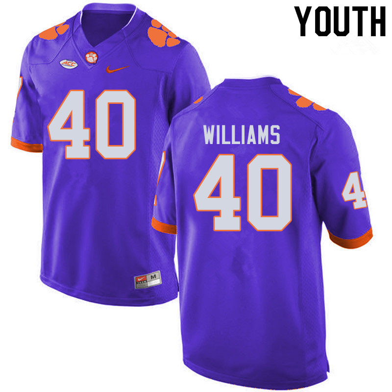 Youth #40 Greg Williams Clemson Tigers College Football Jerseys Sale-Purple