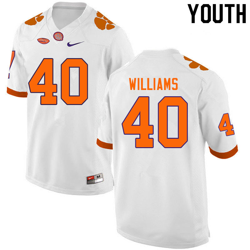 Youth #40 Greg Williams Clemson Tigers College Football Jerseys Sale-White