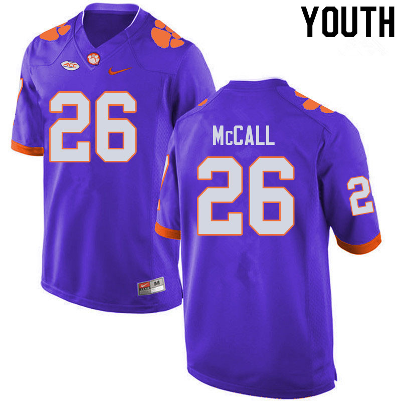 Youth #26 Jack McCall Clemson Tigers College Football Jerseys Sale-Purple