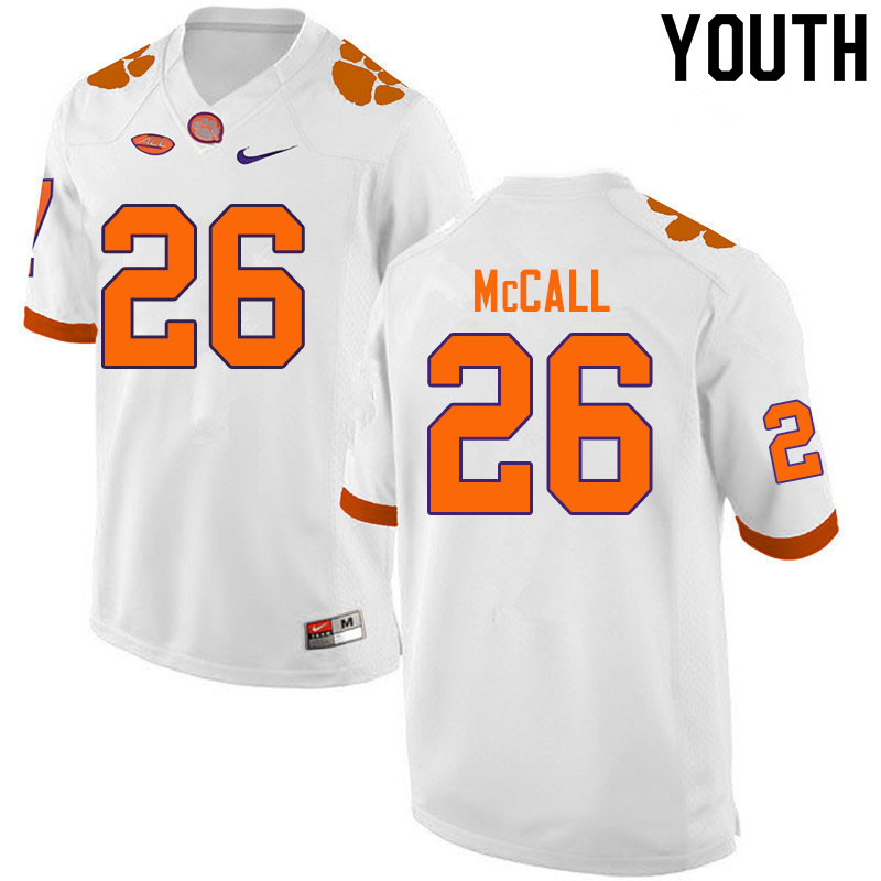Youth #26 Jack McCall Clemson Tigers College Football Jerseys Sale-White