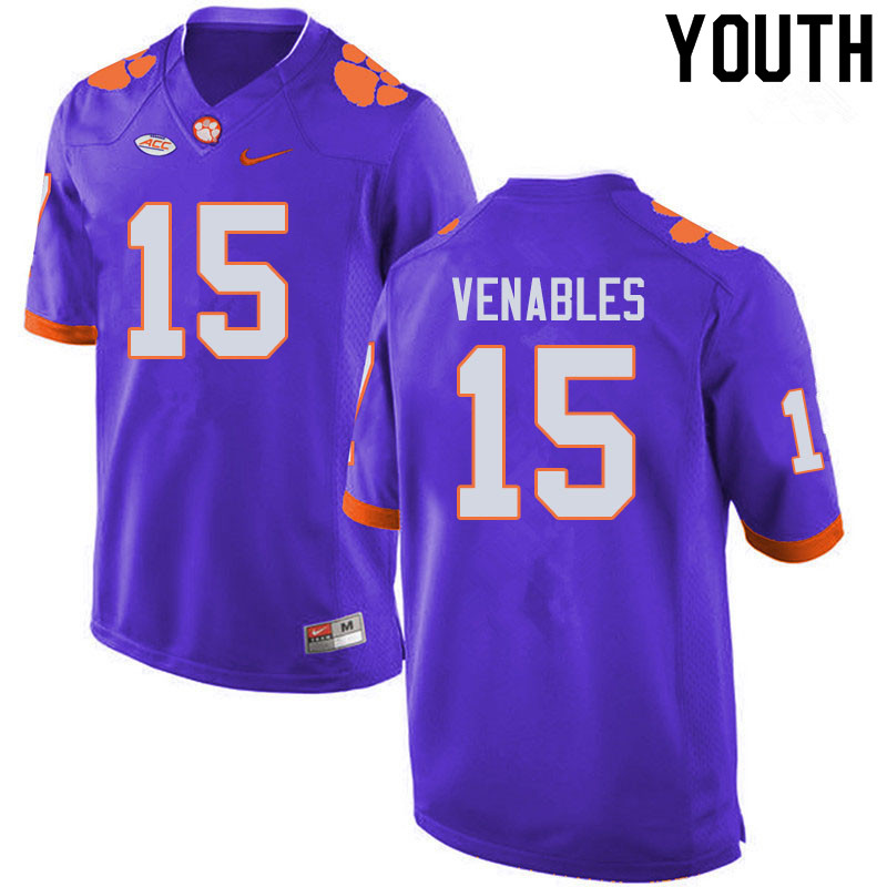 Youth #15 Jake Venables Clemson Tigers College Football Jerseys Sale-Purple