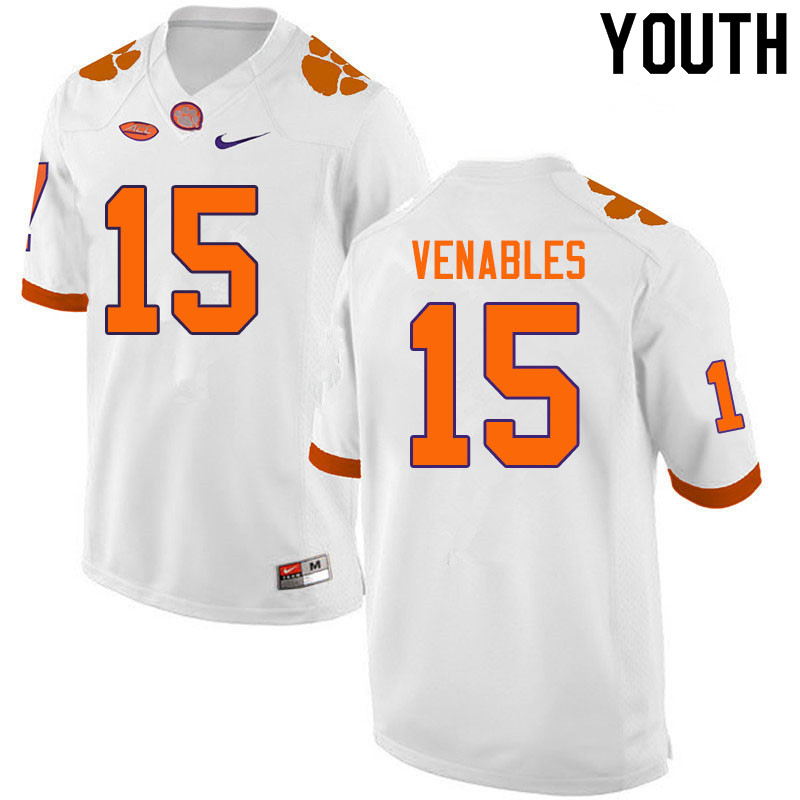 Youth #15 Jake Venables Clemson Tigers College Football Jerseys Sale-White