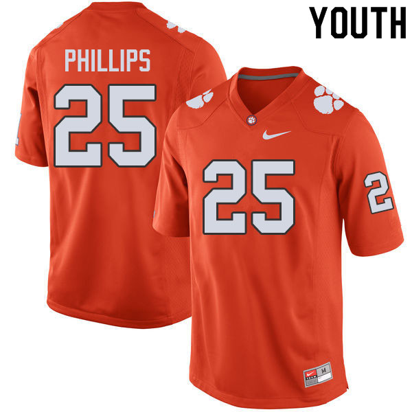 Youth #25 Jalyn Phillips Clemson Tigers College Football Jerseys Sale-Orange