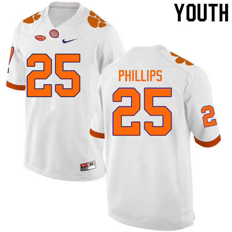 Youth #25 Jalyn Phillips Clemson Tigers College Football Jerseys Sale-White