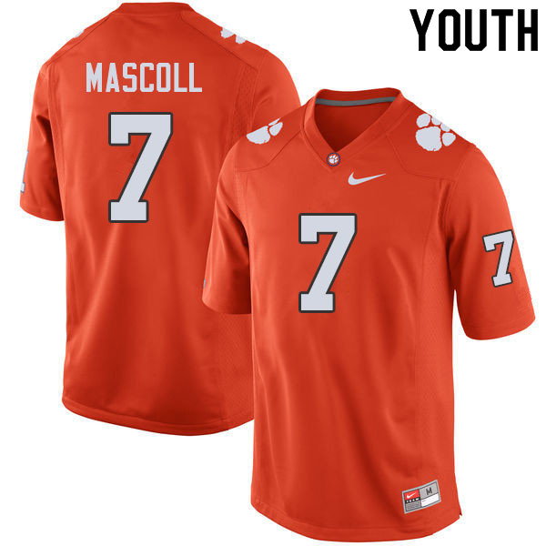 Youth #7 Justin Mascoll Clemson Tigers College Football Jerseys Sale-Orange