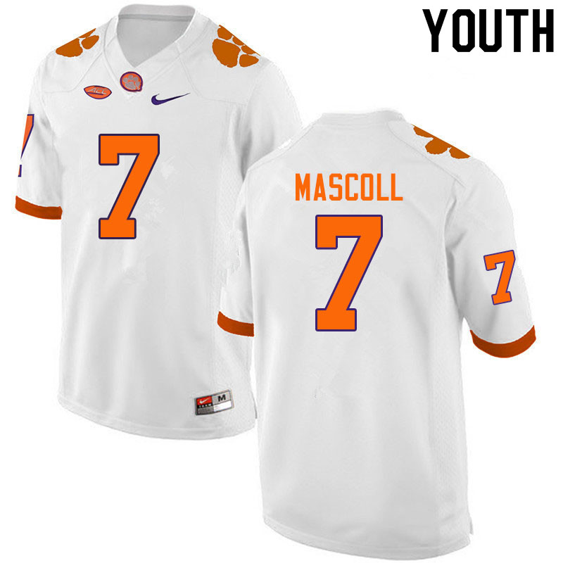Youth #7 Justin Mascoll Clemson Tigers College Football Jerseys Sale-White