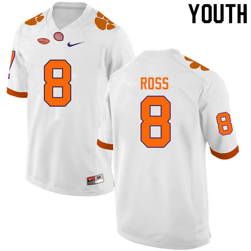 Youth #8 Justyn Ross Clemson Tigers College Football Jerseys Sale-White