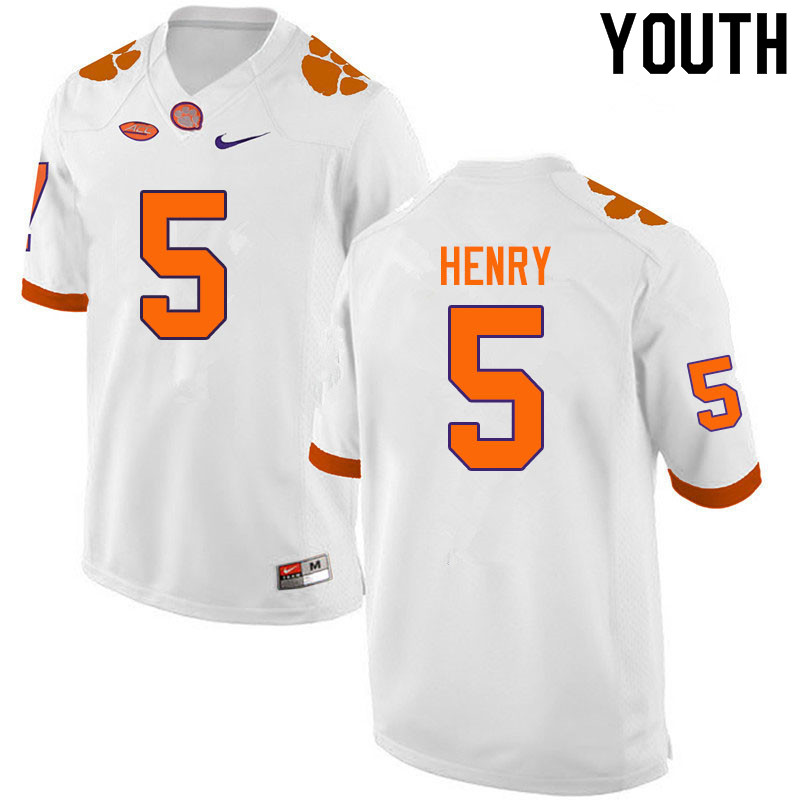 Youth #5 K.J. Henry Clemson Tigers College Football Jerseys Sale-White