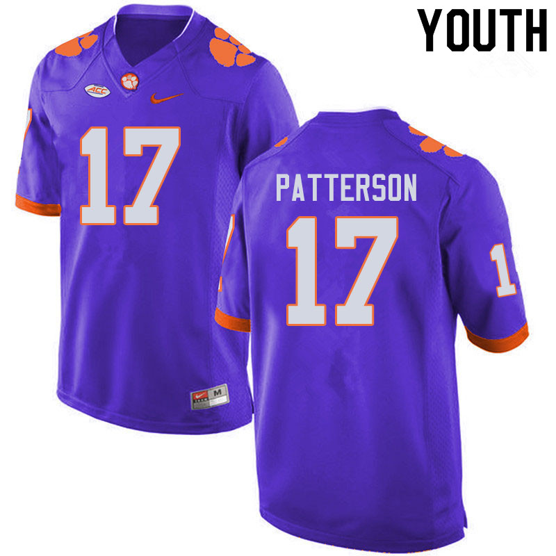 Youth #17 Kane Patterson Clemson Tigers College Football Jerseys Sale-Purple