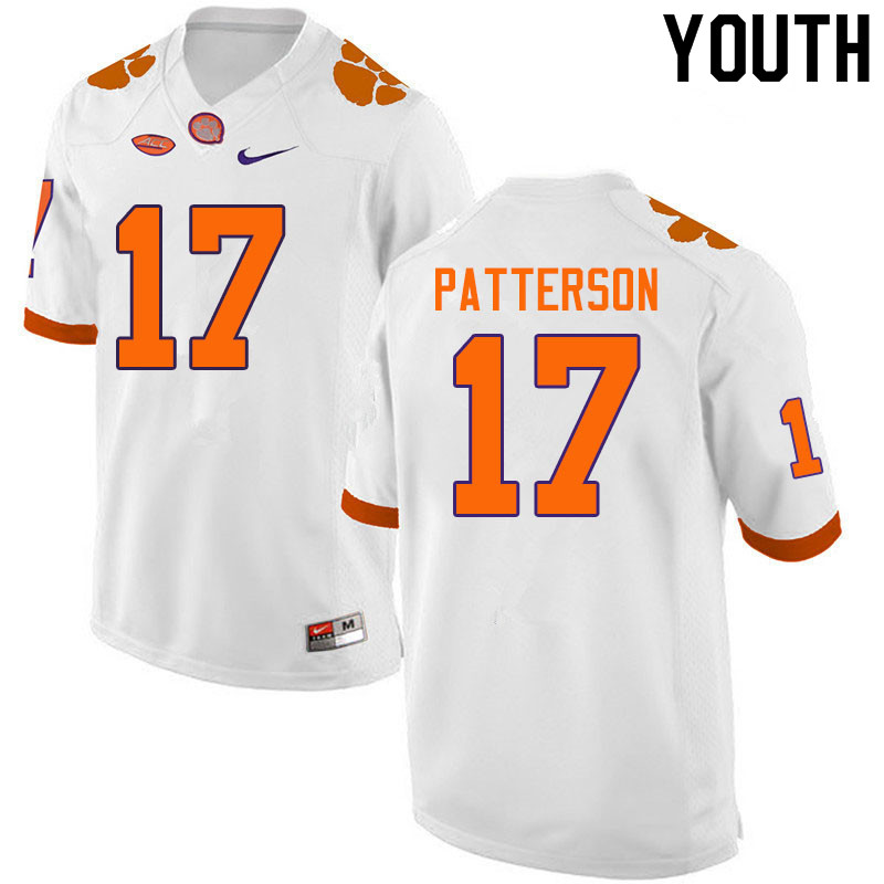Youth #17 Kane Patterson Clemson Tigers College Football Jerseys Sale-White