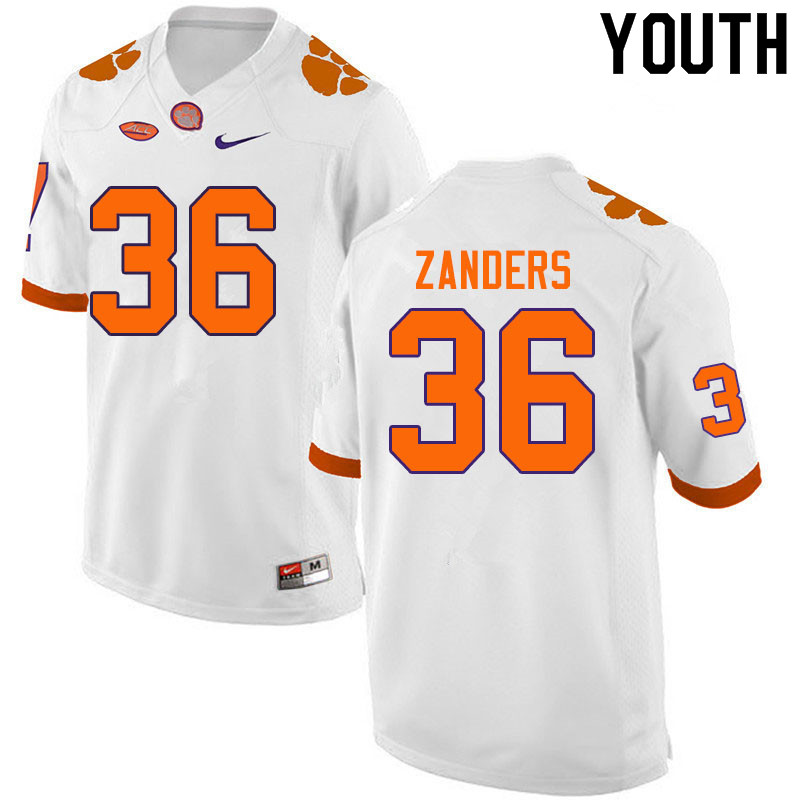 Youth #36 Lannden Zanders Clemson Tigers College Football Jerseys Sale-White