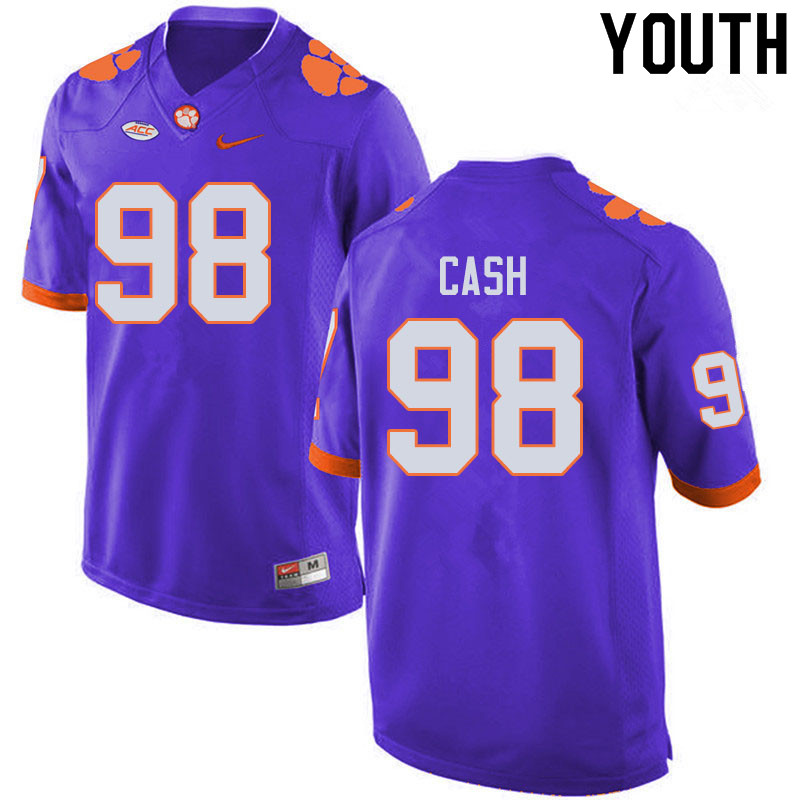 Youth #98 Logan Cash Clemson Tigers College Football Jerseys Sale-Purple