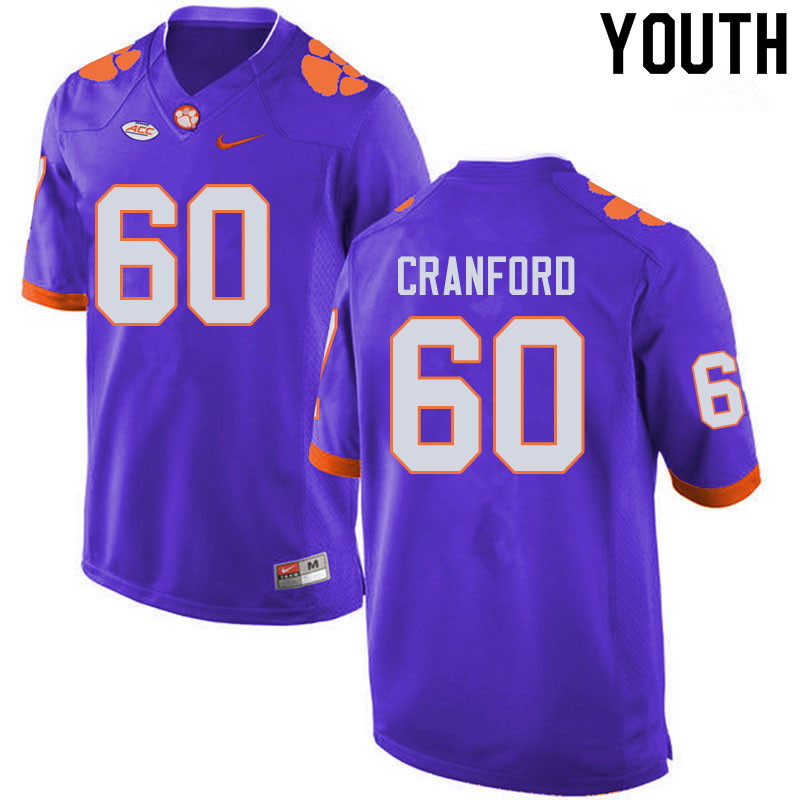 Youth #60 Mac Cranford Clemson Tigers College Football Jerseys Sale-Purple