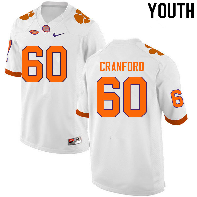Youth #60 Mac Cranford Clemson Tigers College Football Jerseys Sale-White