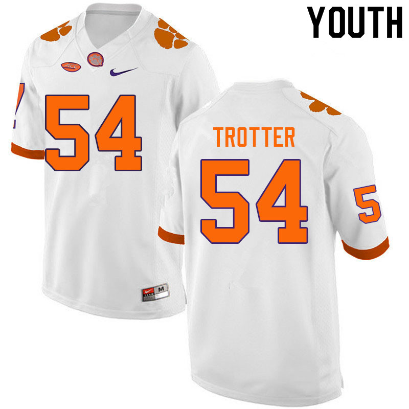 Youth #54 Mason Trotter Clemson Tigers College Football Jerseys Sale-White