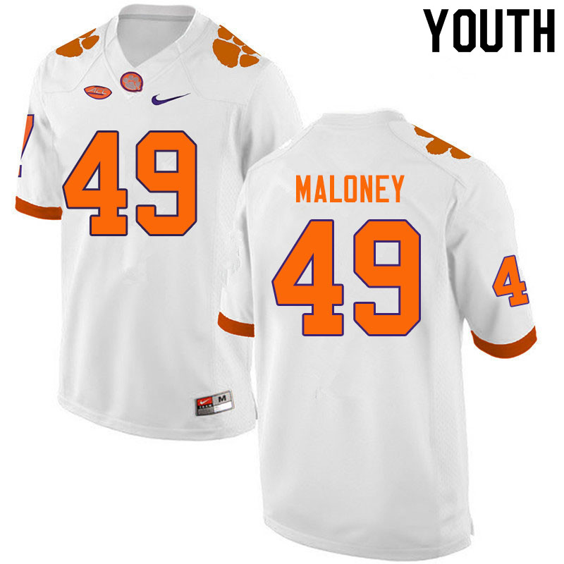 Youth #49 Matthew Maloney Clemson Tigers College Football Jerseys Sale-White