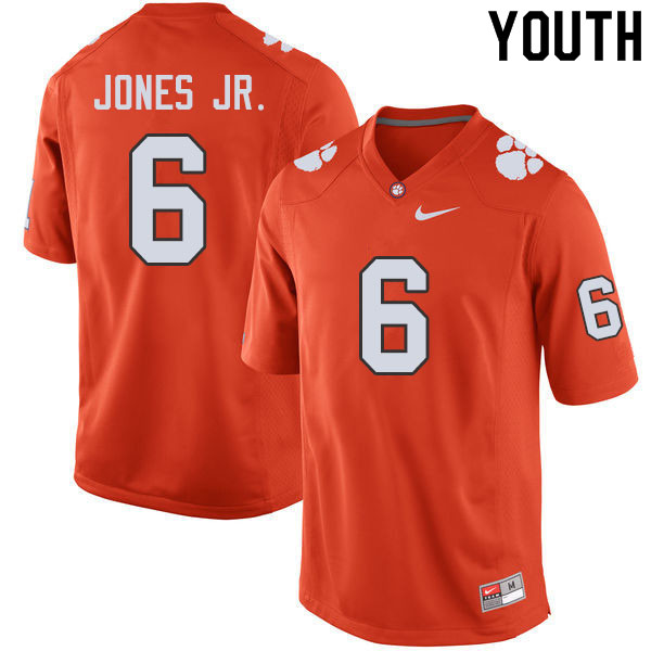 Youth #6 Mike Jones Jr. Clemson Tigers College Football Jerseys Sale-Orange