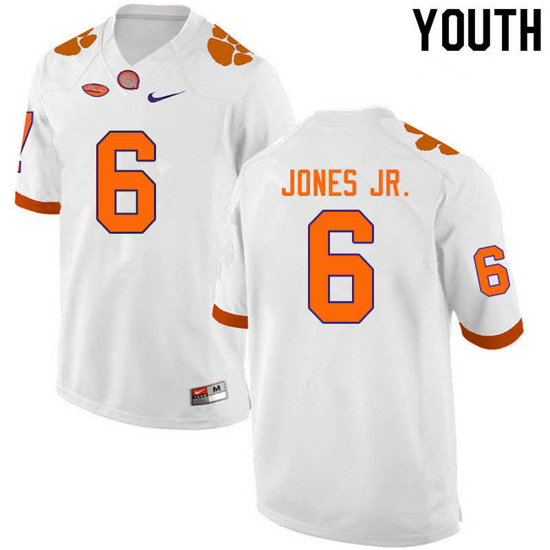 Youth #6 Mike Jones Jr. Clemson Tigers College Football Jerseys Sale-White