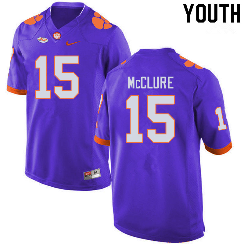Youth #15 Patrick McClure Clemson Tigers College Football Jerseys Sale-Purple