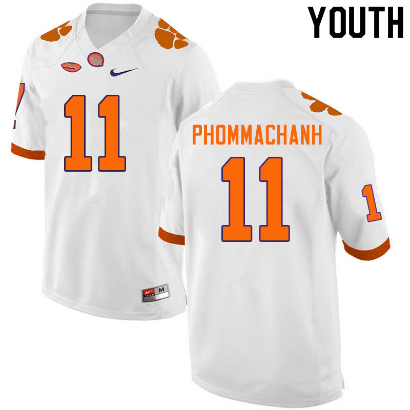 Youth #11 Taisun Phommachanh Clemson Tigers College Football Jerseys Sale-White