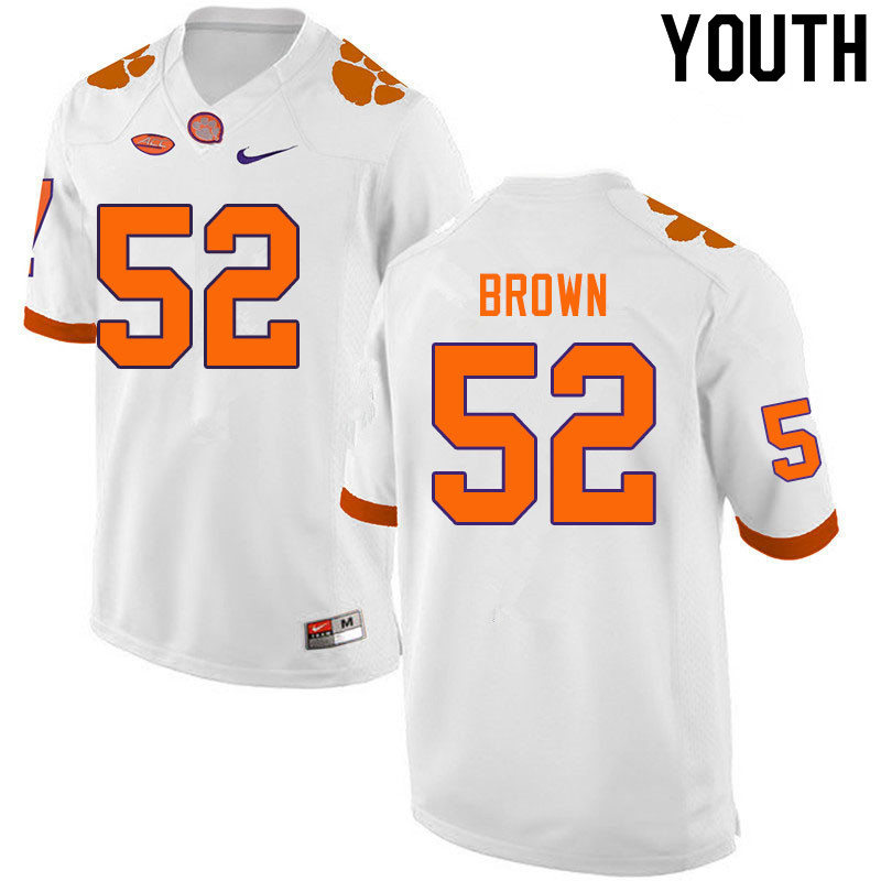 Youth #52 Tyler Brown Clemson Tigers College Football Jerseys Sale-White