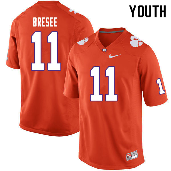Youth #11 Bryan Bresee Clemson Tigers College Football Jerseys Sale-Orange
