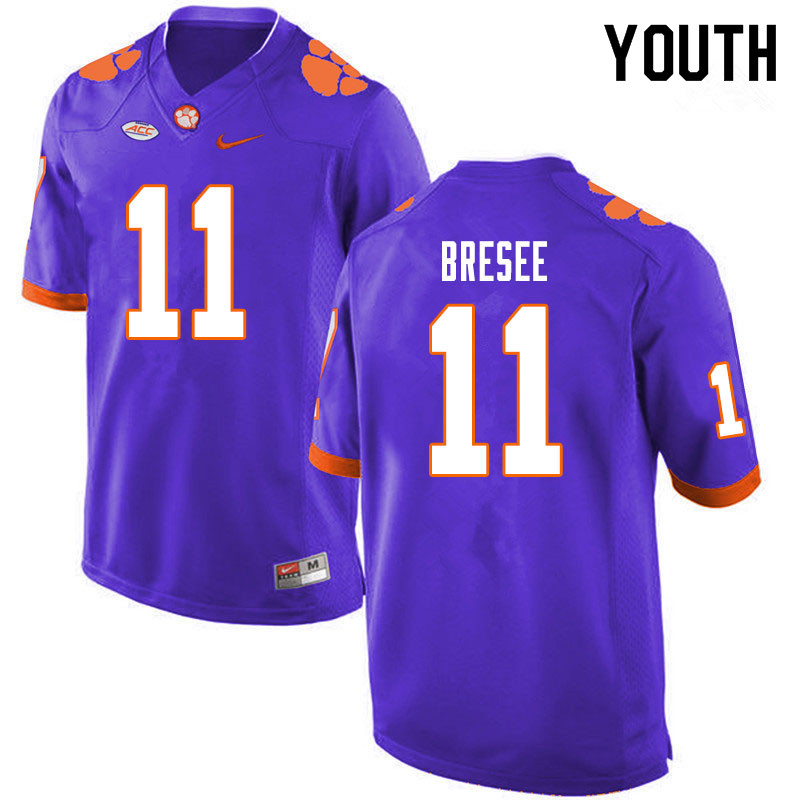 Youth #11 Bryan Bresee Clemson Tigers College Football Jerseys Sale-Purple