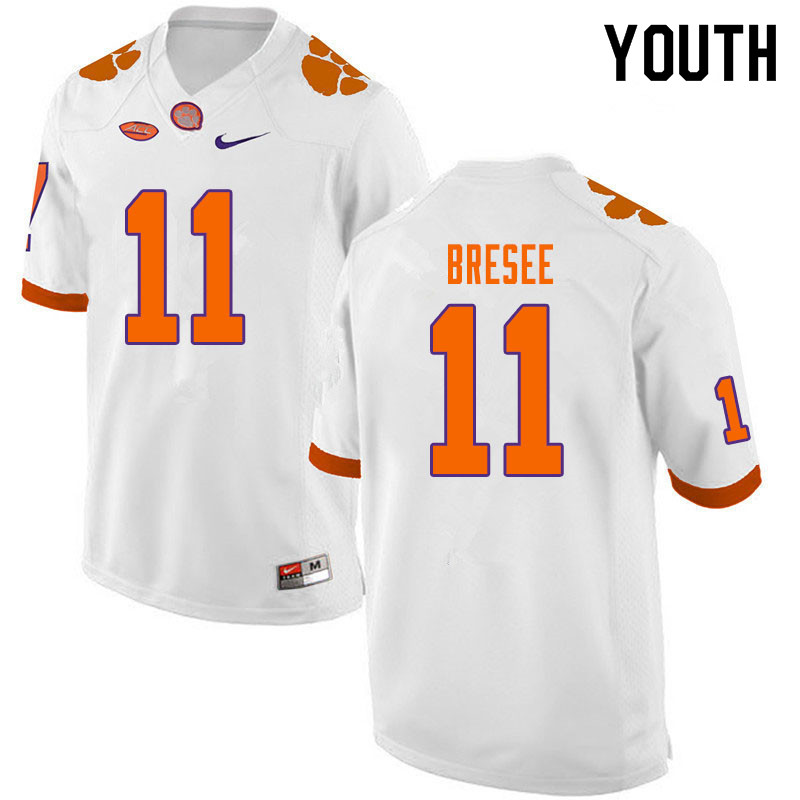 Youth #11 Bryan Bresee Clemson Tigers College Football Jerseys Sale-White