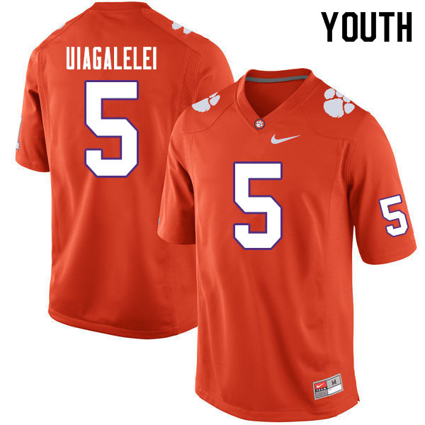 Youth #5 D.J. Uiagalelei Clemson Tigers College Football Jerseys Sale-Orange