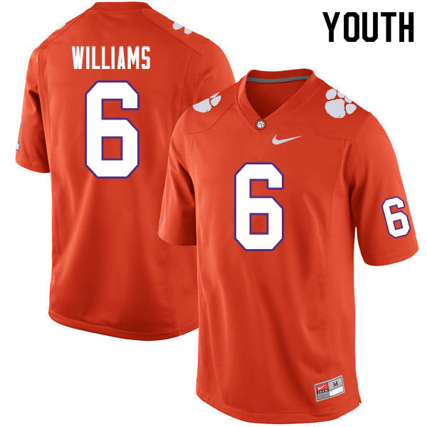 Youth #6 E.J. Williams Clemson Tigers College Football Jerseys Sale-Orange