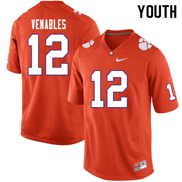 Youth #12 Tyler Venables Clemson Tigers College Football Jerseys Sale-Orange