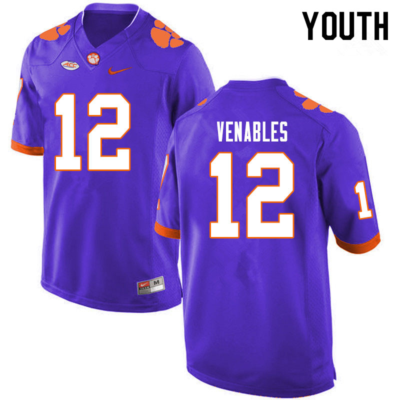 Youth #12 Tyler Venables Clemson Tigers College Football Jerseys Sale-Purple