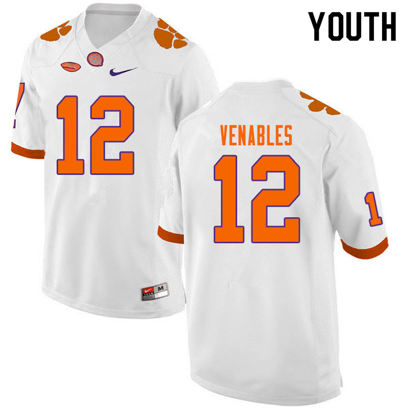 Youth #12 Tyler Venables Clemson Tigers College Football Jerseys Sale-White