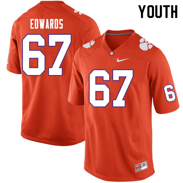 Youth #67 Will Edwards Clemson Tigers College Football Jerseys Sale-Orange