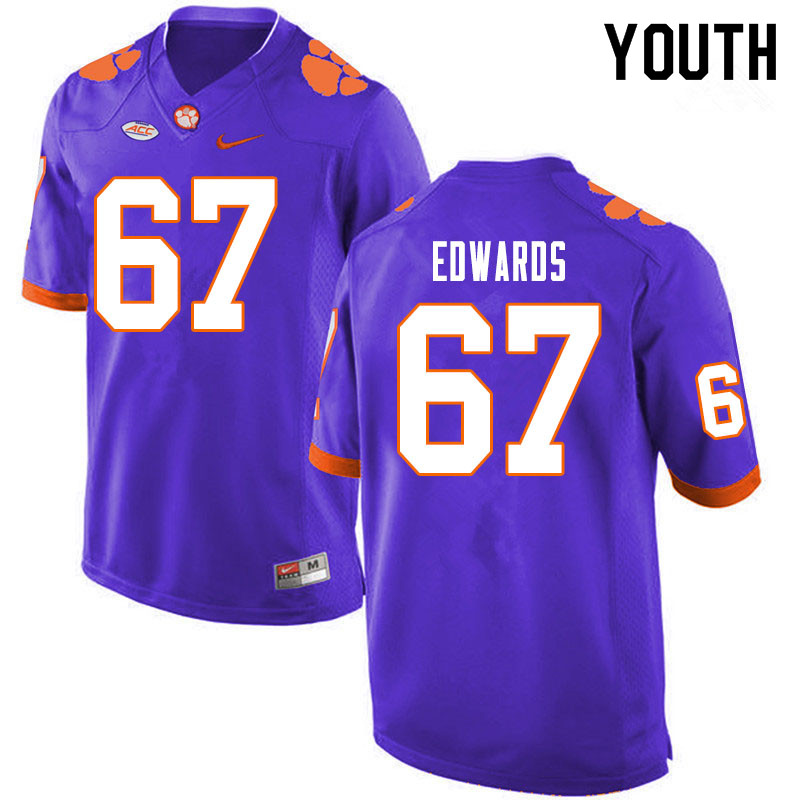 Youth #67 Will Edwards Clemson Tigers College Football Jerseys Sale-Purple