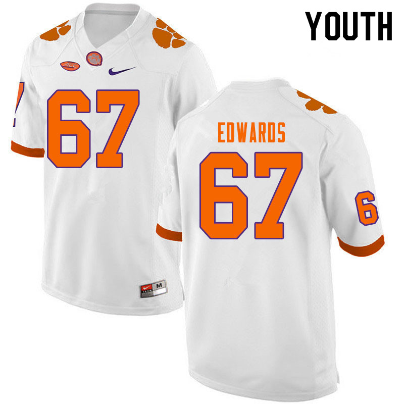 Youth #67 Will Edwards Clemson Tigers College Football Jerseys Sale-White