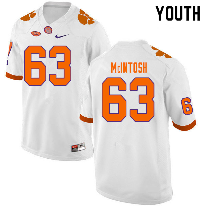Youth #63 Zac McIntosh Clemson Tigers College Football Jerseys Sale-White