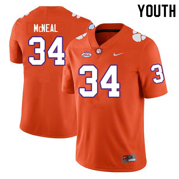 Youth #34 Kevin McNeal Clemson Tigers College Football Jerseys Sale-Orange
