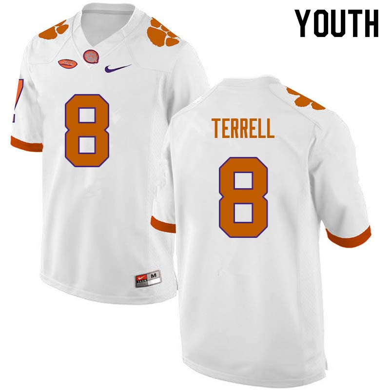 Youth #8 A.J. Terrell Clemson Tigers College Football Jerseys Sale-White