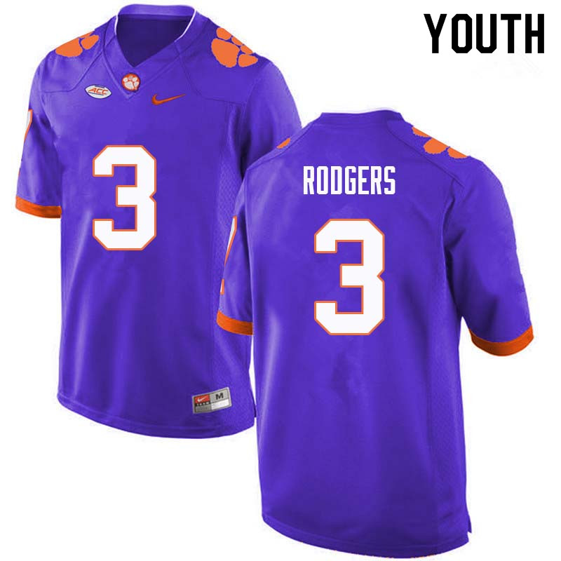 Youth #3 Amari Rodgers Clemson Tigers College Football Jerseys Sale-Purple