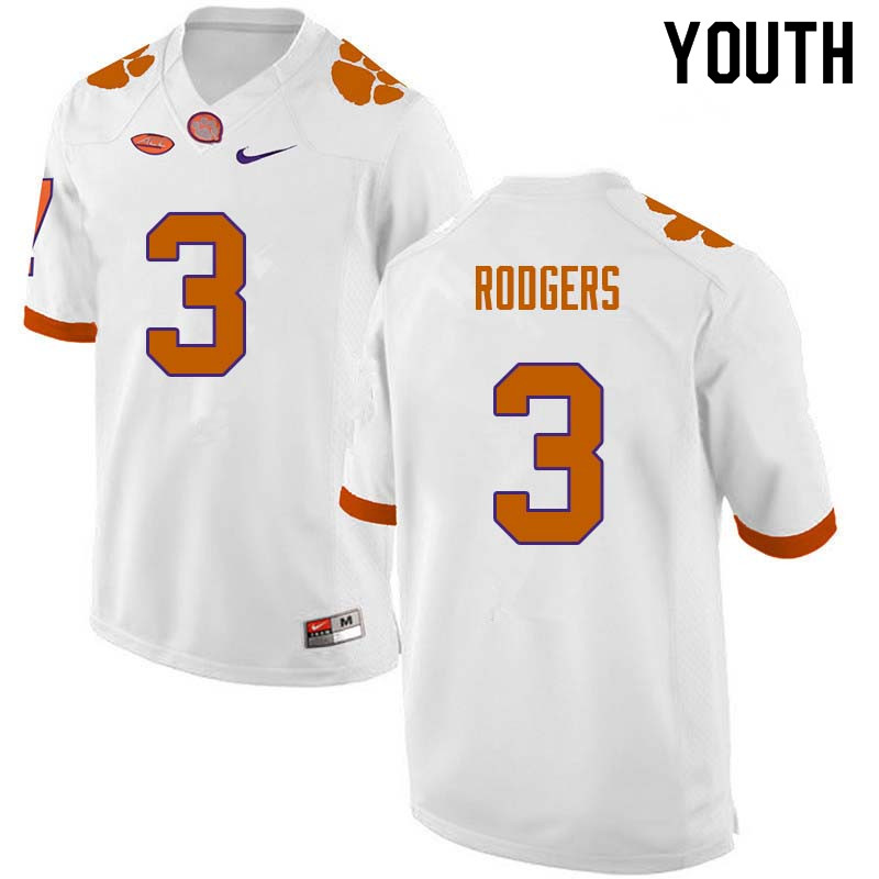 Youth #3 Amari Rodgers Clemson Tigers College Football Jerseys Sale-White